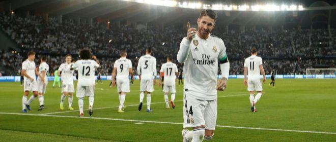 Ramos festeja el tercer gol del Madrid en la final ante el Al Ain.