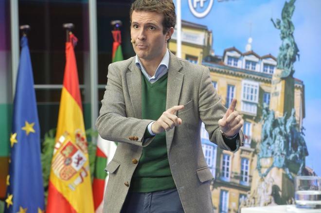 El presidente del PP, Pablo Casado, participa en un acto político de presentación de los candidatos vascos a las elecciones municipales y forales del próximo año.