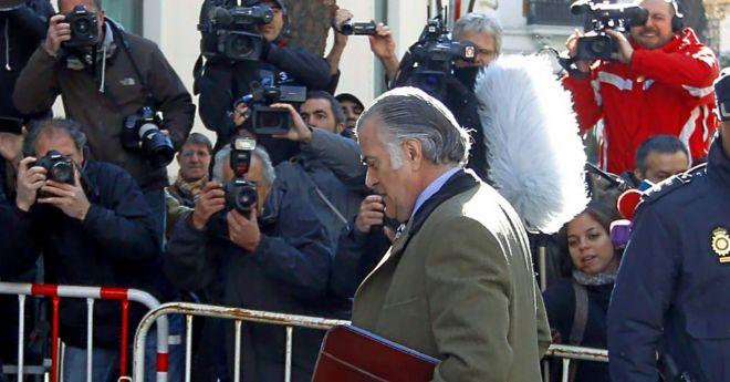 Luis Bárcenas, a su llegada en febrero de 2013 a la sede de la Fiscalía Anticorrupción.
