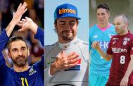 De izda a dcha: Juan Carlos Navarro, Fernando Alonso, Fernando Torres y Andrés Iniesta.