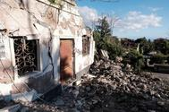 Edificios dañados en Zafferana Etnea, cerca de Catania.