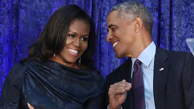 El matrimonio Obama es la viva imagen de la felicidad.