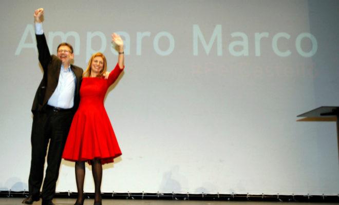 La alcaldesa de Castellón, Amparo Marco, junto al presidente de la Generalitat, Ximo Puig, en un acto de partido.