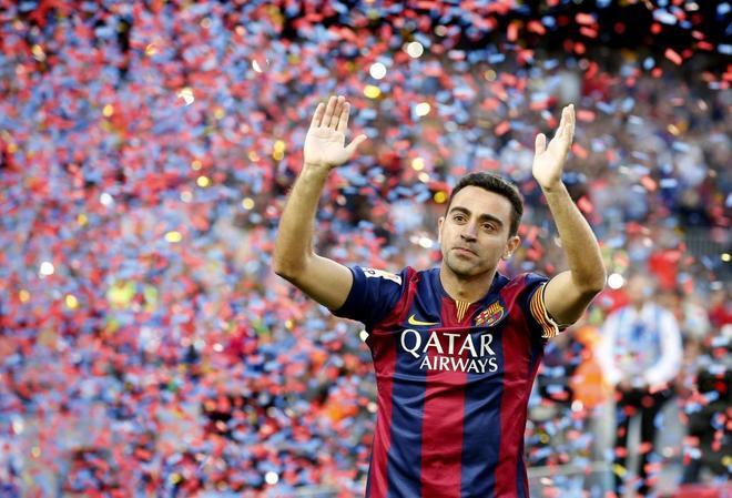 Xavi Hernández, en el partido de despedida del Barça.