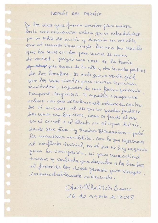 Poema inédito de Luis Alberto de Cuenca, para La Esfera de Papel.