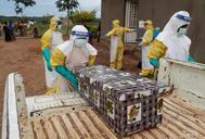 Un grupo de trabajadores sanitarios se lleva un niño fallecido por ébola.