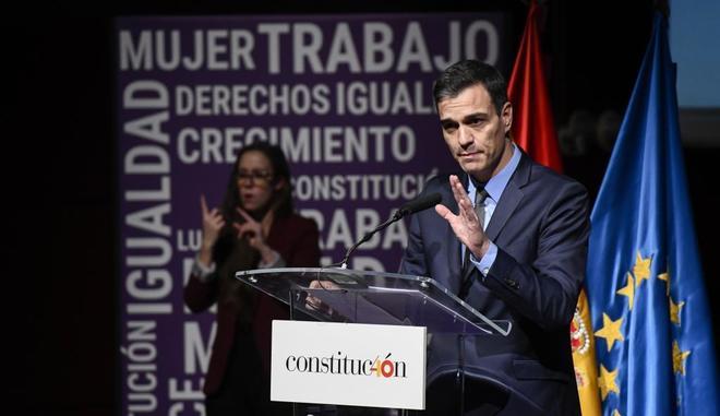 El presidente del Gobierno, Pedro Sánchez, en un acto del 40 aniversario de la Constitución.