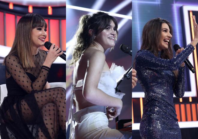 Aitana, Amaia y Ana Guerra durante la gala de Navidad de OT