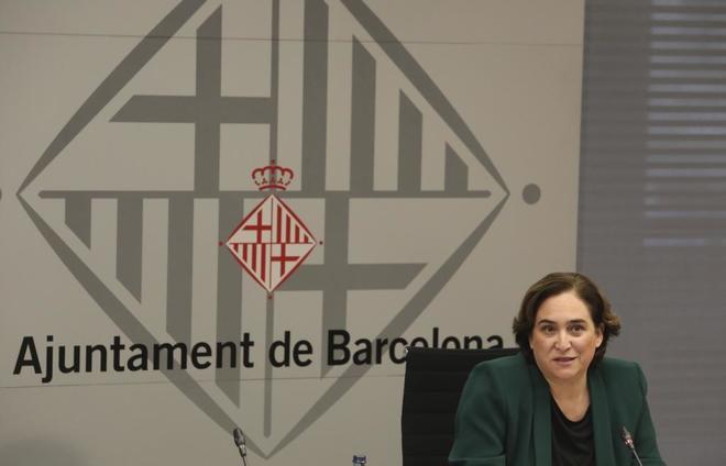 La alcaldesa Ada Colau. en la presentación nuevas viviendas publicas en la ciudad