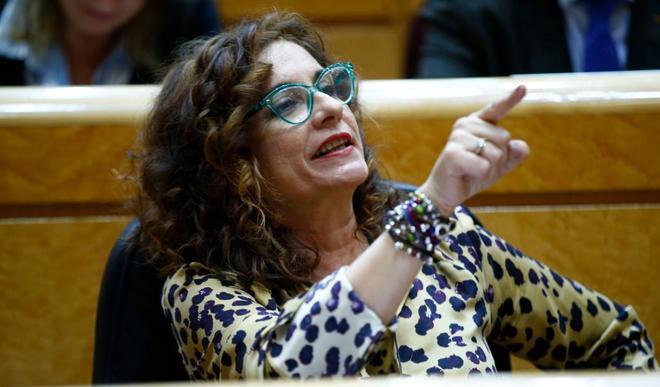 La Ministra Montero durante su intervención ayer en el pleno del...