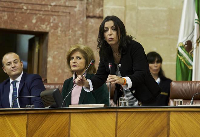 Marta Bosque, en su estreno como presidenta del Parlamento andaluz.