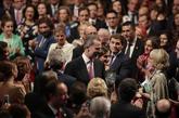 El Rey Felipe VI y la Reina Letizia, a su entrada en Teatro Campoamor...