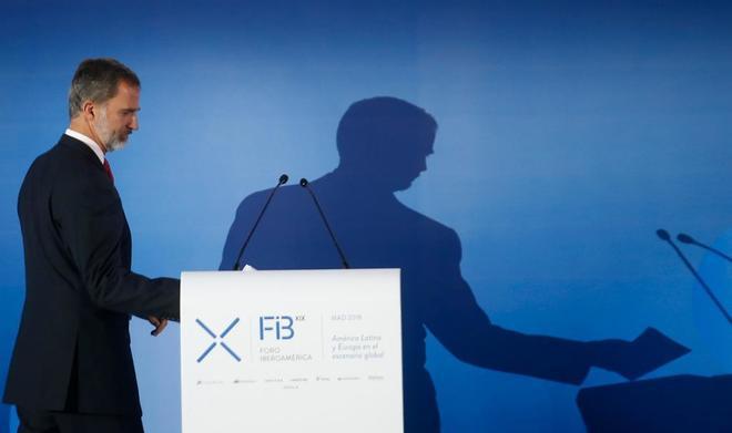 El Rey Felipe VI durante la inauguración del Foro Iberoamericano en...