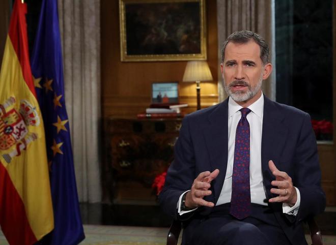 Su Majestad, Felipe VI, durante el mensaje de Nochebuena en TVE.