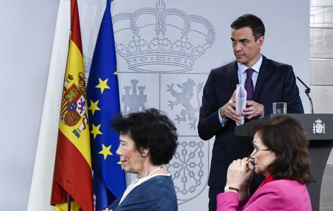 El presidente del Gobierno, Pedro Sánchez, durante el último Consejo...
