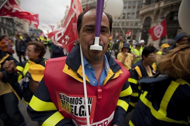 Huelga de trabajadores de Correos. Manifestacion de trabajadores de Correos el pasado mes de junio por el centro de Madrid.