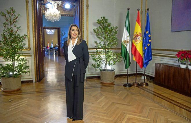 La presidenta en funciones de la Junta de Andalucía, Susana Díaz,...