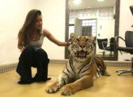 Ana Guerra posa con la tigresa que protagoniza su criticada broma en la Gala Inocente 2018