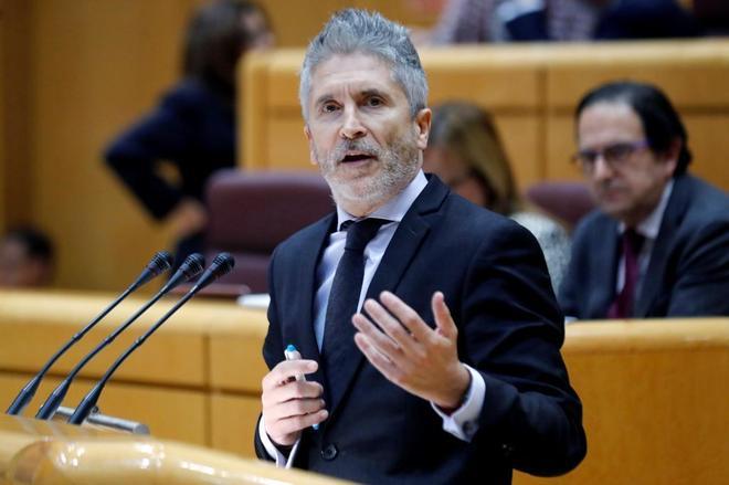 El ministro de Interior, Fernando Grande-Marlaska, en la sesión de control del Senado.