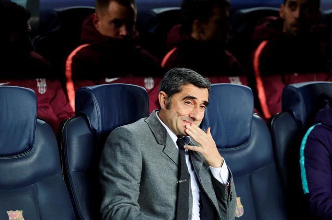 Ernesto Valverde, técnico del Barcelona, durante un partido de esta temporada.