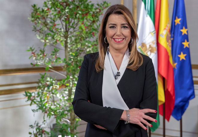 La presidenta de la Junta en funciones, Susana Díaz, durante su mensaje de fin de año.