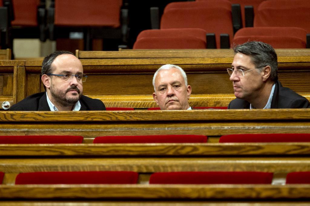 El presidente del PP catalán, Alejandro Fernandez, junto a los diputados de su grupo Xavier García Albiol y Santi Rodríguez