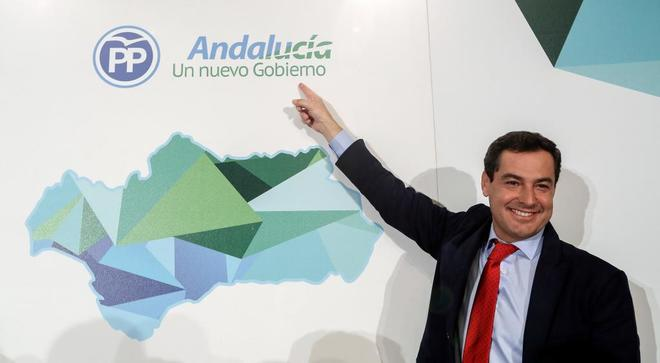 El líder del PP andaluz, Juan Manuel Moreno Bonilla,