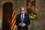 El 'president' de la Generalitat, Quim Torra, en el discurso institucional de este Fin de Año.