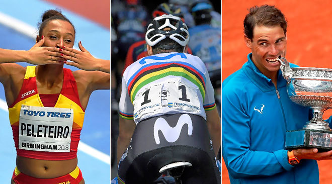 Ana Peleteiro, Alejandro Valverde y Rafa Nadal.