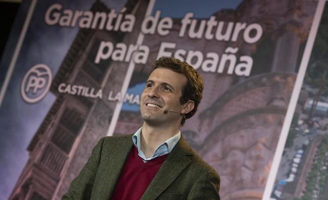 El líder del PP, Pablo Casado, el pasado día 30, en la presentación de los candidatos por Castilla-La Mancha.