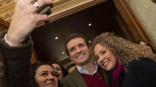 El presidente del PP, Pablo Casado, en la presentación, en Albacete,...
