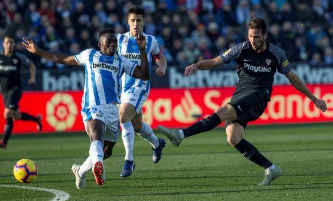 Disparo de Vázquez con la zurda durante el partido ante el Leganés.