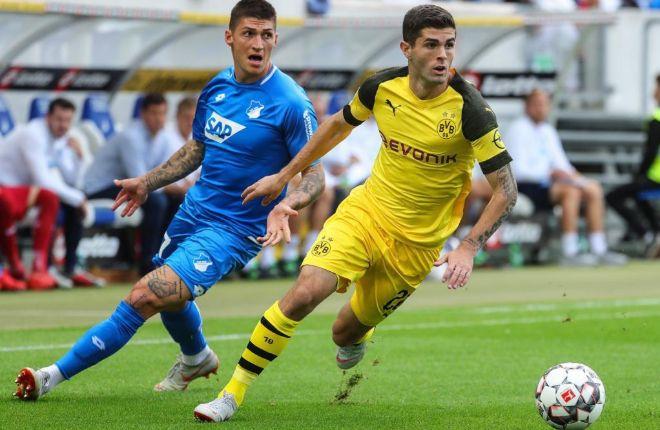 Pulisic, durante un partido del Dortmund frente al Hoffenheim.