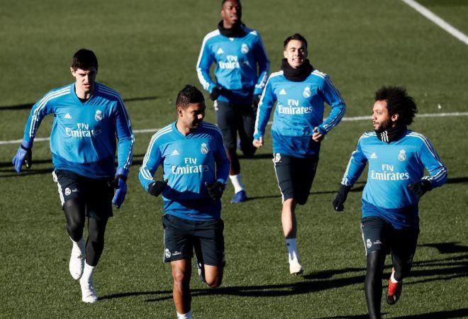 Courtois, Casemiro, Vinicius, Javi Sánchez y Marcelo, el miércoles en Valdebebas.