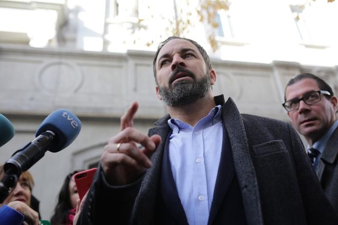 El líder de Vox, Santiago Abascal, durante una comparecencia celebrada en Madrid.