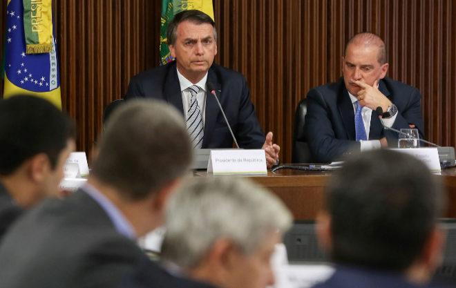 El presidente brasileño, Jair Bolsonaro, en su primer consejo de ministros.