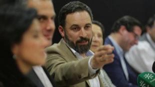 Santiago Abascal, líder de Vox, en rueda de prensa tras las...