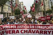 Protestas contra la corrupcón en Lima, este jueves.