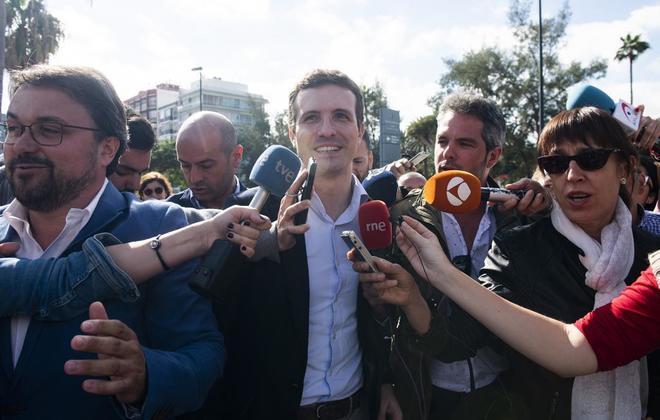 El líder del PP, Pablo Casado, al llegar a un acto de presentación...