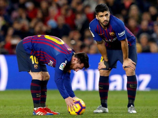 Leo Messi y Luis Suárez durante el último partido del FC Barcelona