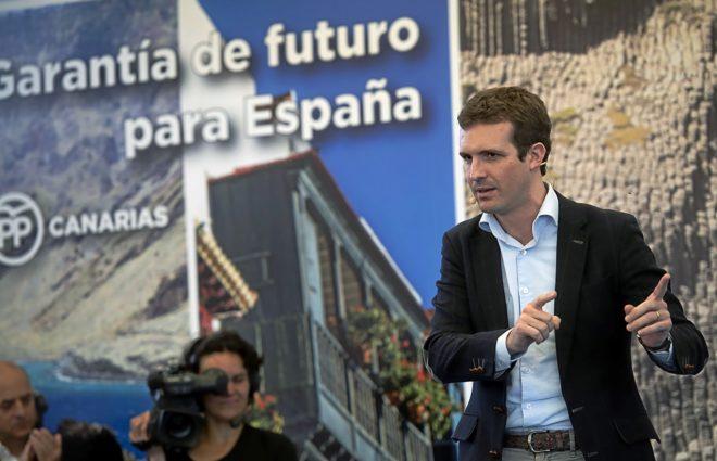 El presidente del PP, Pablo Casado, durante la presentación de...