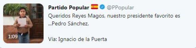 Imagen del tuit difundido por la cuenta oficial del Partido Popular