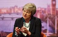La primera ministra británica, Theresa May, entrevistada por el periodista Andrew Marr hoy en la BBC