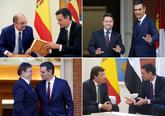 El presidente del Gobierno, Pedro Sánchez, recibe en Moncloa a los...