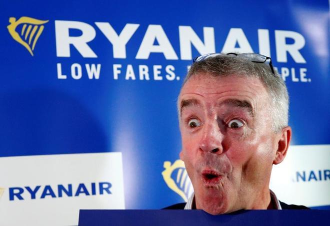 El CEO de Ryanair, Michael O'Leary, durante una reciente rueda de prensa en Bruselas.