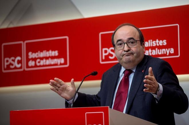 El secretario general del PSC, Miquel Iceta, en comparencia pública