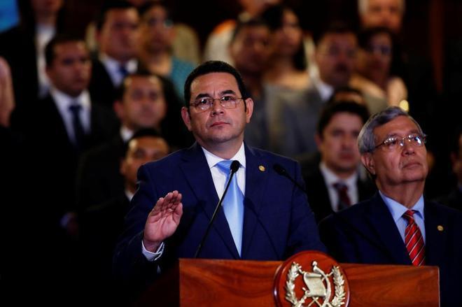 El presidente de Guatemala, Jimmy Morales, durante el anuncio de la expulsión del CICIG.