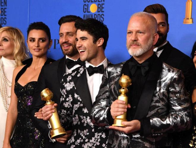 Reparto de 'El asesinato de Gianni Versace' con sus Globos de Oro 2019