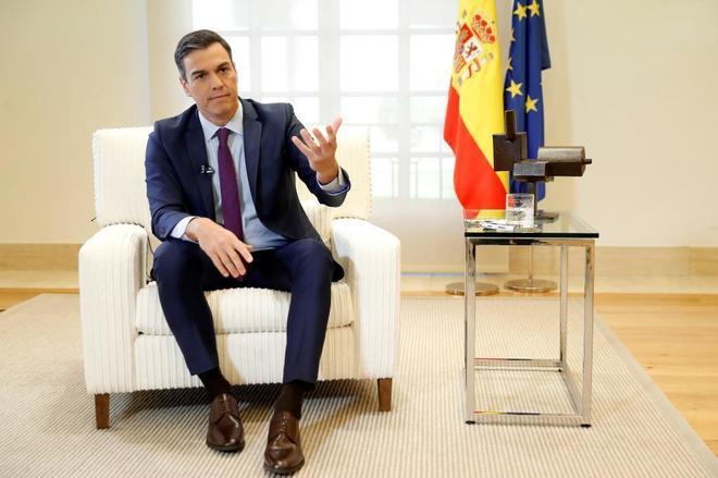 Pedro Sánchez, durante la entrevista concedida a la Agencia Efe en el...