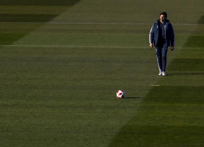 Santiago Solari, en el entrenamiento previo al duelo copero contra el Leganés.
